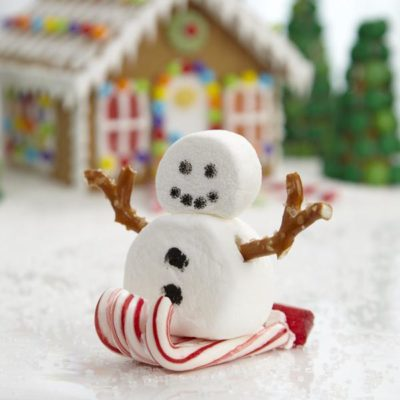 image of snowman on sled